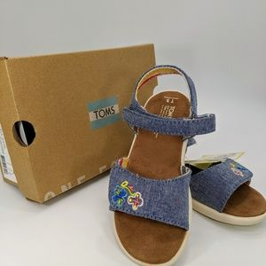 TOMS GIRL STRAPPY BLUE MULTI SPECKLE CHAMBRAY SAND